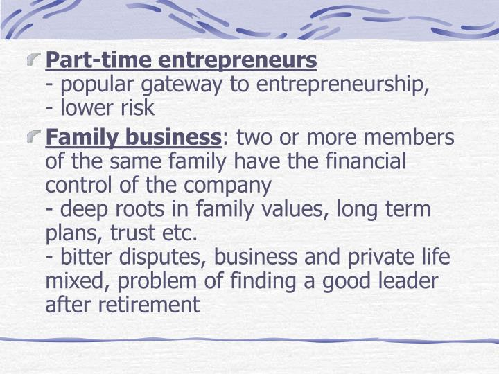 Part-time entrepreneurs