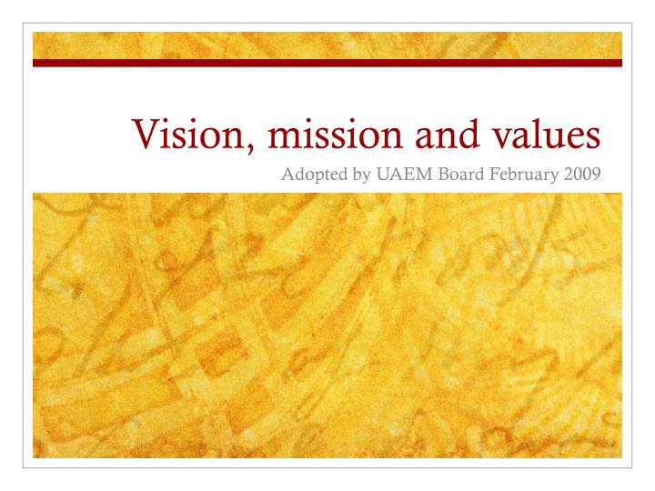 vision mission and values n.