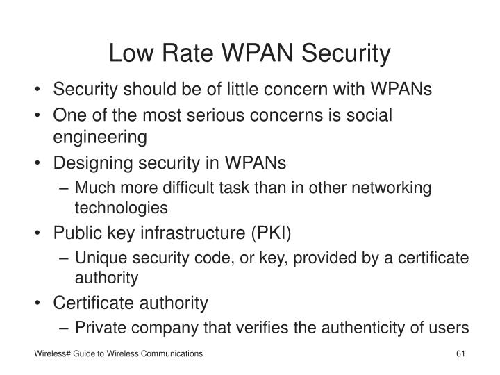 Low Rate WPAN Security