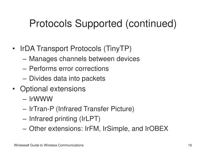 Protocols Supported (continued)