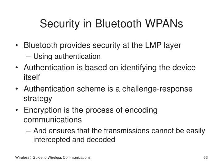 Security in Bluetooth WPANs