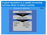 a good reputation is a rapidly increasing success factor in today s society