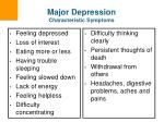 major depression characteristic symptoms