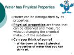 water has physical properties