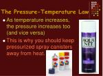 the pressure temperature law