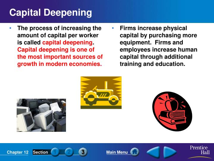 The process of increasing the amount of capital per worker is called