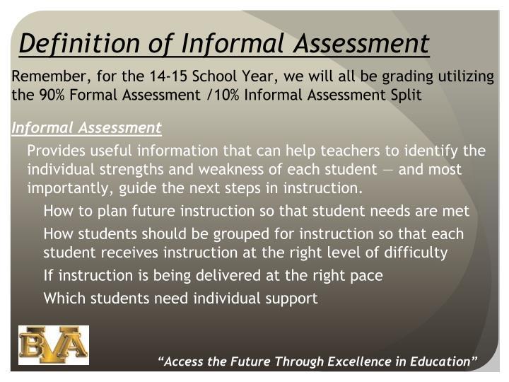 Definition of Informal Assessment