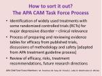 how to sort it out the apa cam task force process