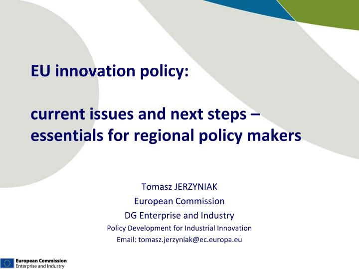 eu innovation policy current issues and next steps essentials for regional policy makers n.