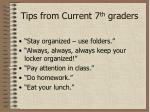 tips from current 7 th graders