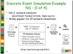 discrete event simulation example ns 1 of 4