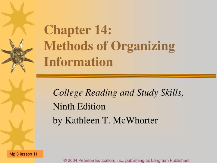 chapter 14 methods of organizing information n.