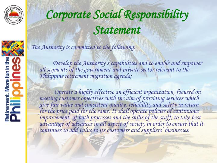 corporate social responsibility statement n.