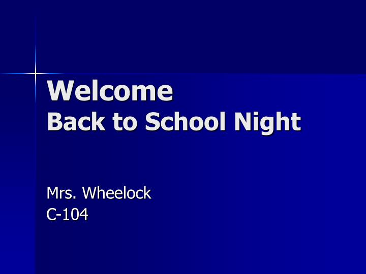 welcome back to school night n.