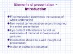 e lements of presentation introduction