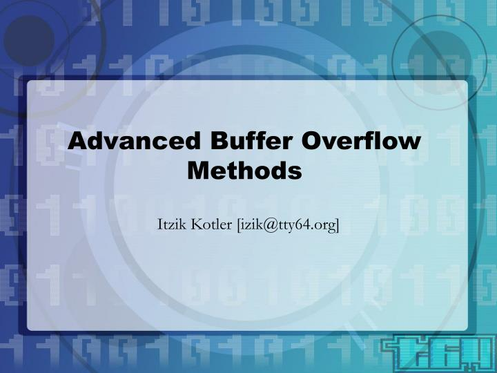 advanced buffer overflow methods n.