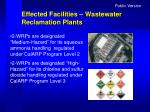 effected facilities wastewater reclamation plants