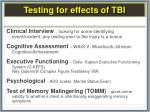 testing for effects of tbi1