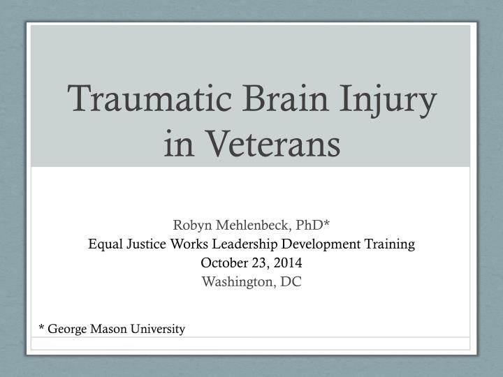 traumatic brain injury in veterans n.