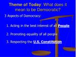 theme of today what does it mean to be democratic