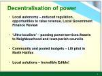 decentralisation of power