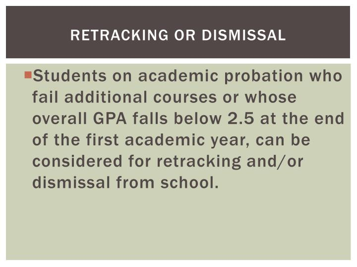 Retracking or Dismissal