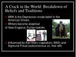 a crack in the world breakdown of beliefs and traditions