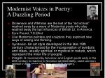modernist voices in poetry a dazzling period