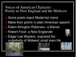 voices of american character poetry in new england and the midwest