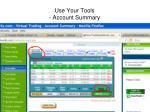 use your tools account summary