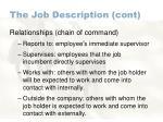 the job description cont