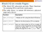 block i o on vnode pages