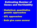 estimating number of genes and hertitability