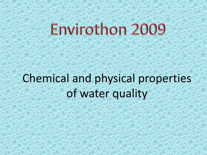 chemical and physical properties of water quality n.
