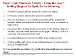 paper lipid synthesis activity using the paper folding diagram for lipid do the following