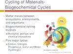 cycling of materials biogeochemical cycles