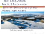 toolik lake alaska north of arctic circle summer solstice light all day winter dark all day