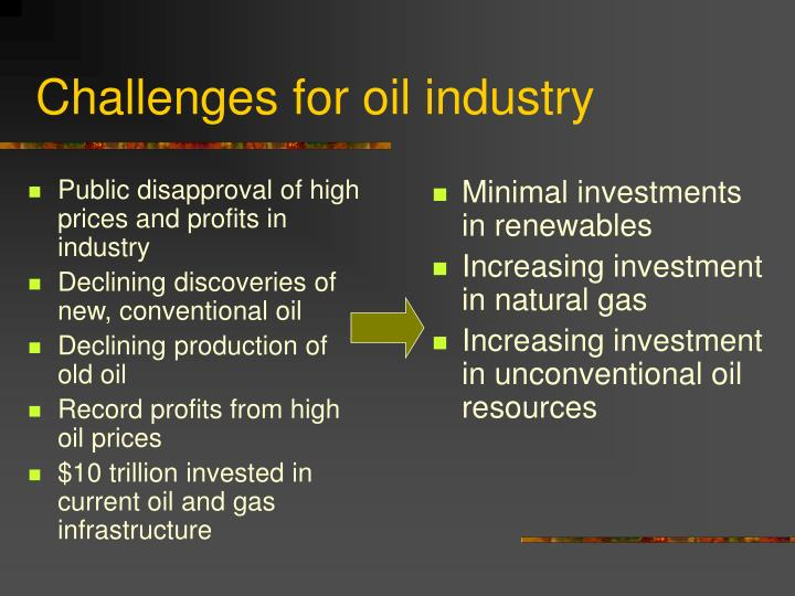 Challenges for oil industry