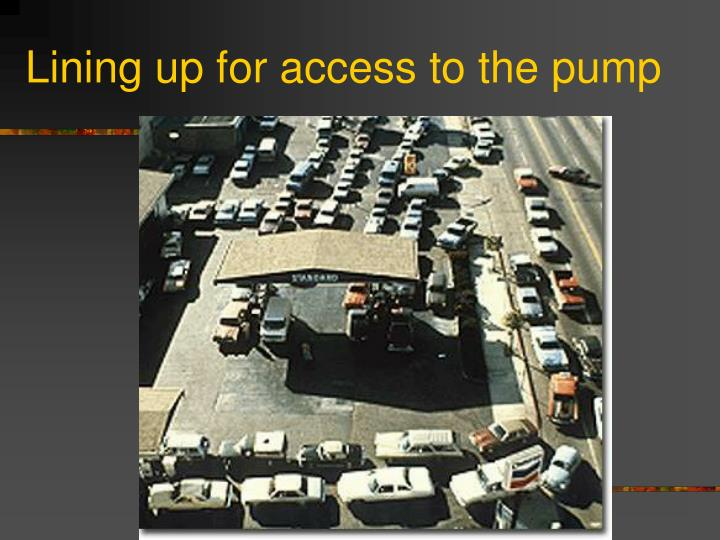 Lining up for access to the pump