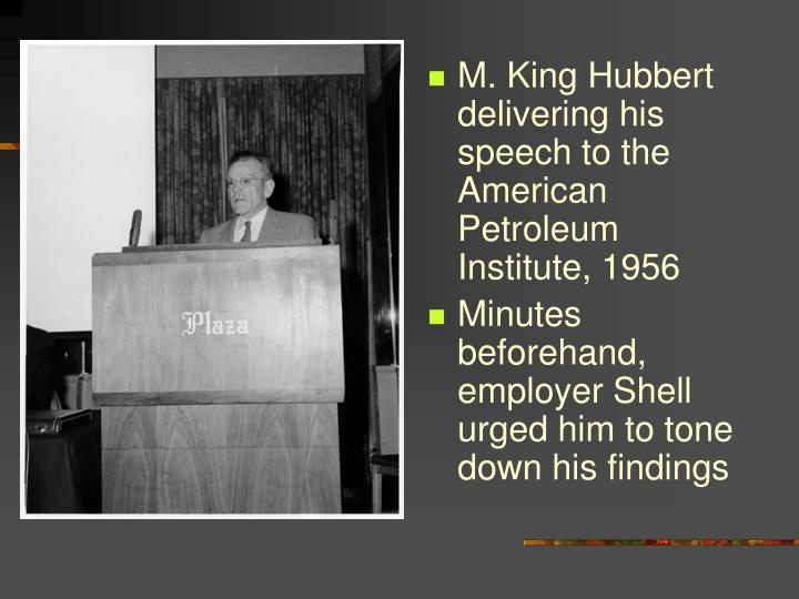 M. King Hubbert delivering his speech to the American Petroleum Institute, 1956