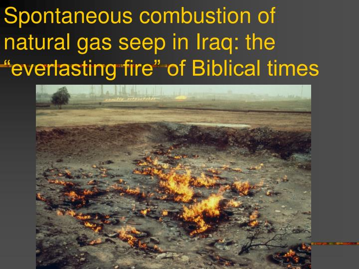 """Spontaneous combustion of natural gas seep in Iraq: the """"everlasting fire"""" of Biblical times"""