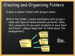 creating and organizing folders