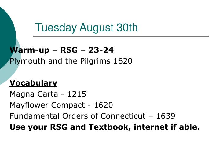 Tuesday august 30th