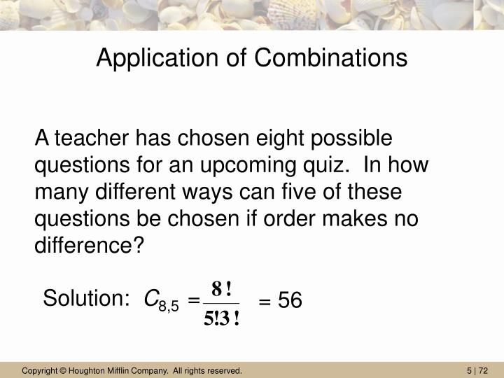 Application of Combinations