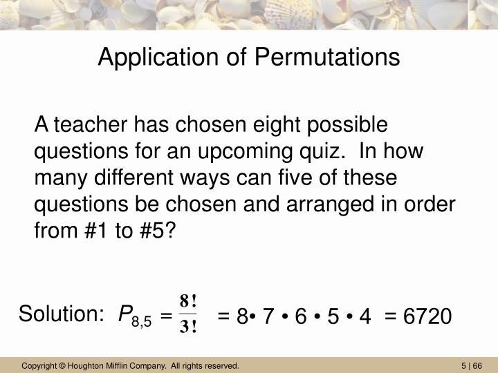 Application of Permutations