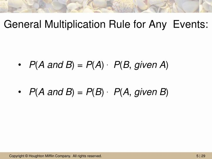 General Multiplication Rule for Any  Events: