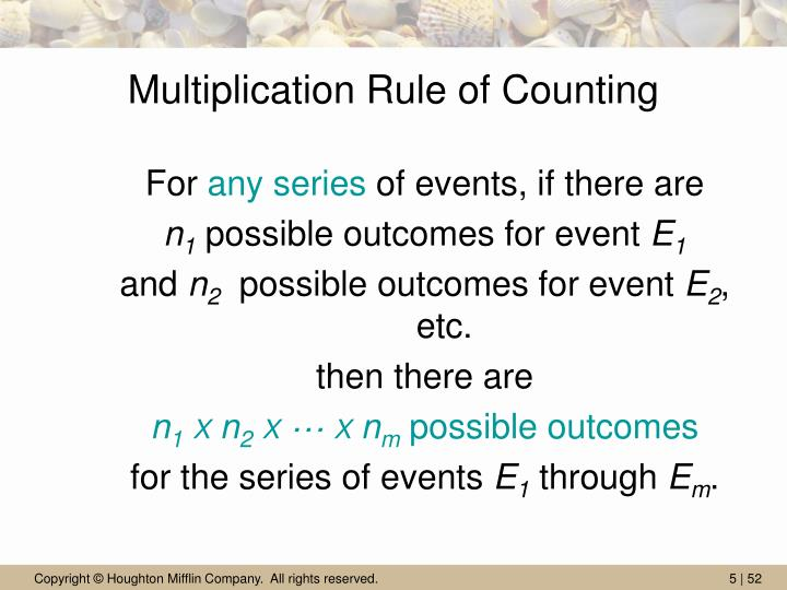 Multiplication Rule of Counting