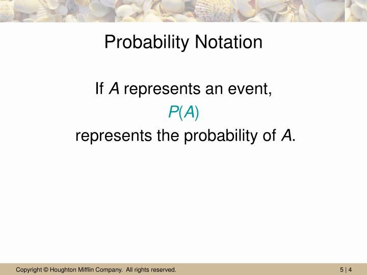Probability Notation