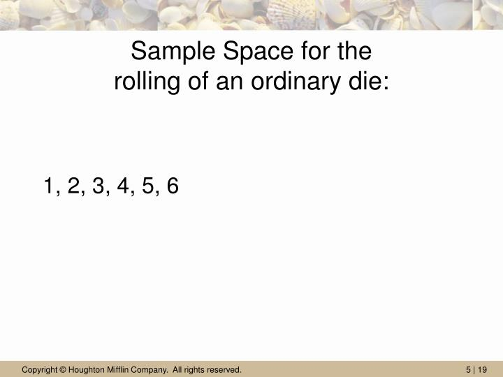 Sample Space for the