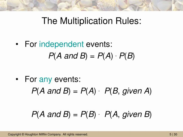 The Multiplication Rules: